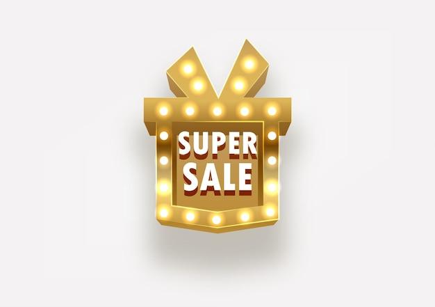 Confezione regalo super vendita come illustrazione vettoriale di cartello dorato