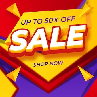 Modello di progettazione banner moderno di vendita eccellente su giallo