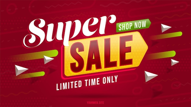 Templater di banner pubblicitari per offerte di vendita super.