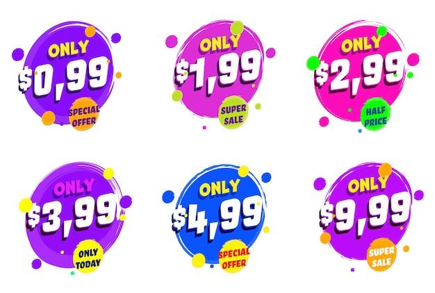 Super prezzo di vendita ridotto solo oggi etichetta di offerta di sconto speciale.