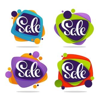 Super vendita, raccolta vettoriale di banner bolla di sconto brillante