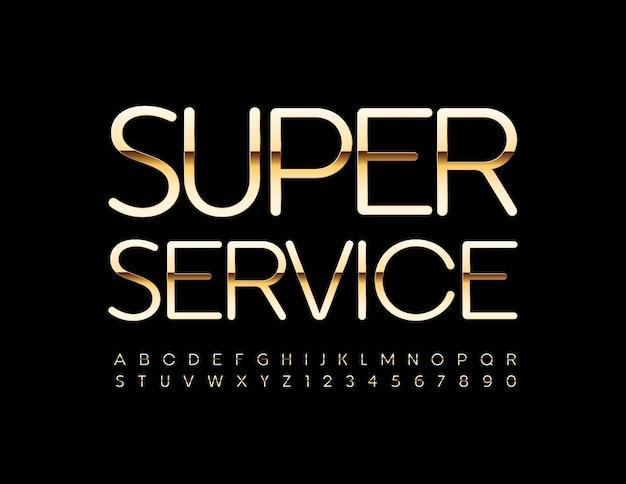 Set di lettere e numeri dell'alfabeto in oro lucido super service font in stile elite