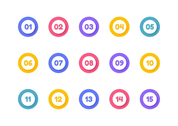 Punto elenco super impostato. pennarelli colorati con numero da 1 a 15.