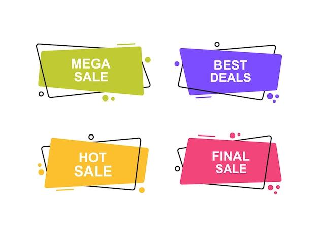 Super set banner geometrici di forma diversa. moderne forme astratte per la promozione della vendita. illustrazione moderna.