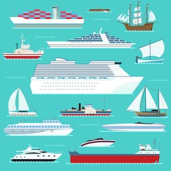 Super set di navi d'acqua trasporto barca marittima, nave, nave da guerra, yacht, wherry, trasporto hovercraft in stile moderno design piatto vettoriale.