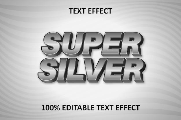 Effetto di testo modificabile super silver silver