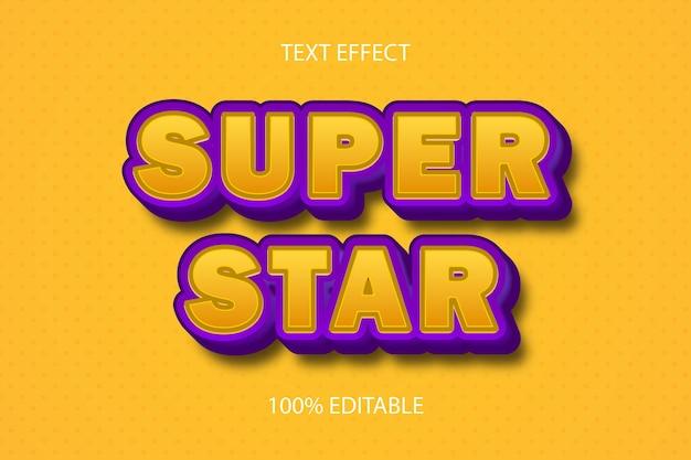 Effetto di testo modificabile di colore giallo super stella
