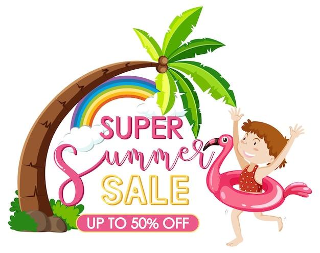 Super saldi estivi con un modello di banner per personaggio dei cartoni animati da ragazza