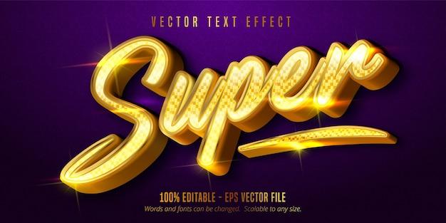 Super testo, effetto di testo modificabile in stile dorato lucido
