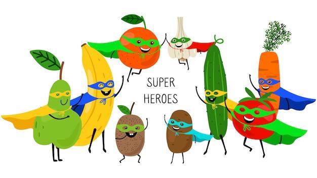 Super frutta verdura. supereroi con sorrisi e maschere, pera arancia banana pomodoro carota isolato su bianco