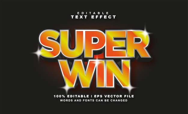 Super win text effect free eps vector