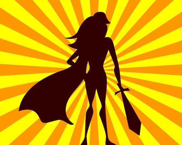 Illustrazione vettoriale super donna. ragazza del supereroe dei fumetti con la spada sagoma di eroe su sfondo di raggi.