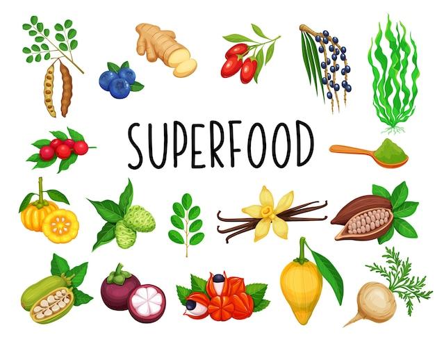Superfood frutta e verdure a foglia verde.