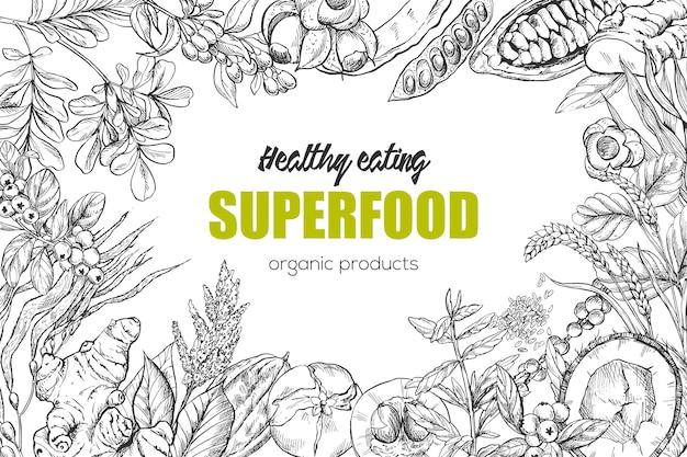 Superfood, cornice per schizzi realistica