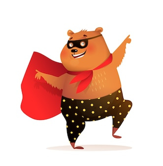 Cucciolo di orso supereroe sorridente e ballare in discoteca indossando maschera e mantello