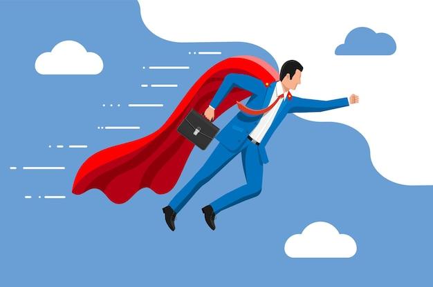 Uomo d'affari del supereroe che vola in cielo uomo d'affari in abito e mantello rosso. impostazione degli obiettivi. obiettivo intelligente. concetto di obiettivo aziendale. realizzazione e successo. illustrazione vettoriale in stile piatto