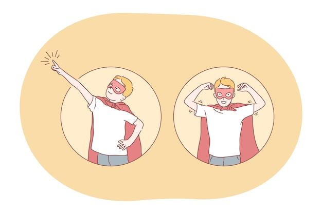 Concetto di supereroe. giovane ragazzo sorridente bambino in costume da supereroe rosso mantello e maschera.
