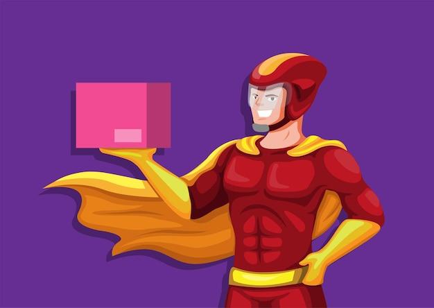 Vettore espresso dell'illustrazione della mascotte di consegna del corriere del supereroe
