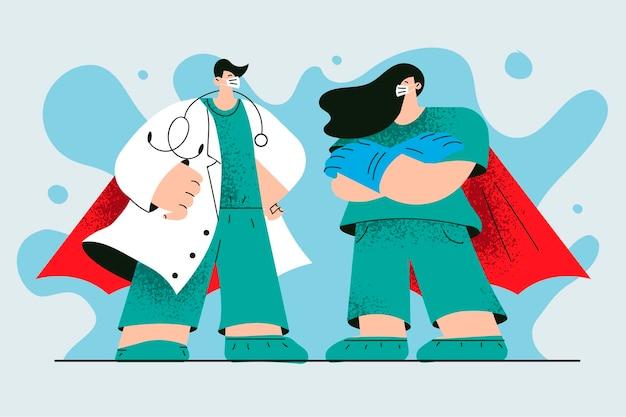 Medici di supereroi che lavorano durante il concetto di pandemia covid-19.