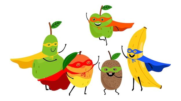 Squadra di frutti di supereroi. supereroi di frutta simpatico cartone animato isolati su bianco