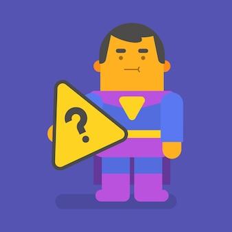 Punto interrogativo della holding del supereroe. carattere vettoriale. illustrazione vettoriale