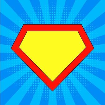 Modello logo supereroe a sfondo blu brillante, pop art.