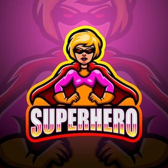 Illustrazione di esport della mascotte del supereroe