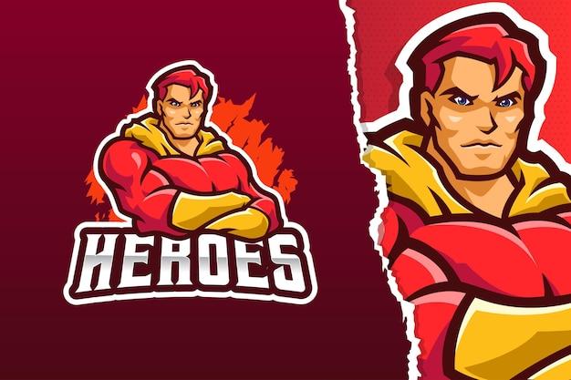 Modello di logo della mascotte del supereroe