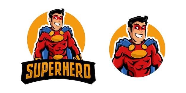 Logo della mascotte del supereroe