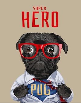 Illustrazione del cane pug supereroe