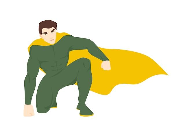 Supereroe, sovrumano o superuomo. uomo attraente con corpo muscoloso che indossa tuta e mantello. coraggioso e forte eroe fantastico o guardiano con super potere. illustrazione vettoriale in stile cartone animato piatto.