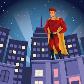 Supereroe che veglia sulla costruzione di una vista notturna della città