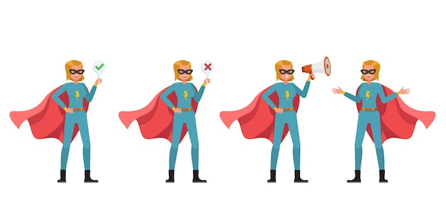 Disegno vettoriale di carattere donna supereroe. presentazione in varie azioni. numero 3