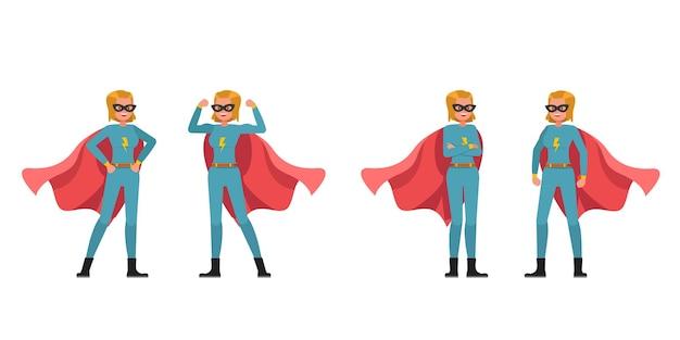 Disegno vettoriale di carattere donna supereroe. presentazione in varie azioni. no4