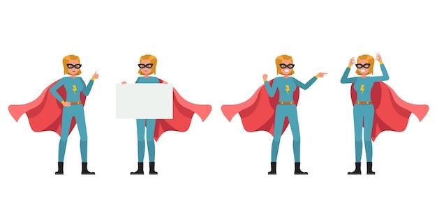 Disegno vettoriale di carattere donna supereroe. presentazione in varie azioni. no5