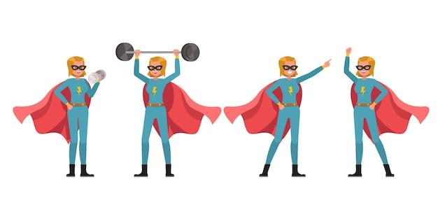 Disegno vettoriale di carattere donna supereroe. presentazione in varie azioni. no6