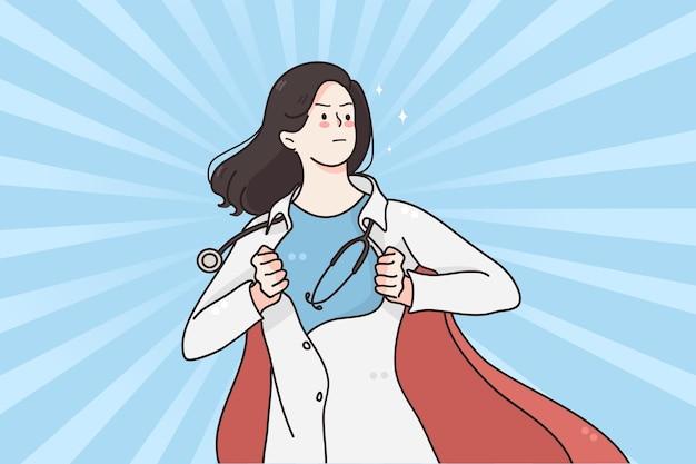 Supereroe donna medico in medicina durante il concetto di pandemia
