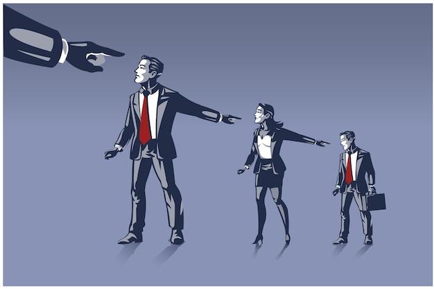 Superiori che puntano contro i subordinati, incolpando di fallimento aziendale. illustrazione di affari concetto di irresponsabilità nell'affrontare il fallimento aziendale