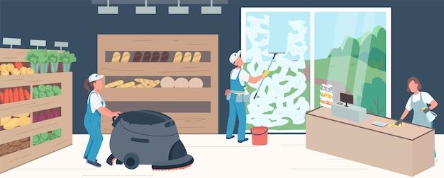 Colore piatto pulizia supermercato. personaggi dei cartoni animati bidimensionali professionisti con scaffali di prodotti sullo sfondo. gli addetti alle pulizie nel negozio di alimentari spolverano, lavano le finestre e il pavimento