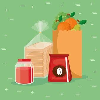 Cibo sano di generi alimentari supermercato
