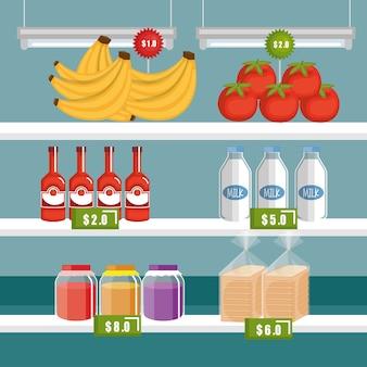 Generi alimentari supermercato in scaffalature