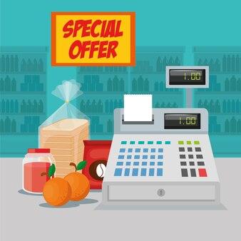 Generi alimentari supermercato con macchina registro