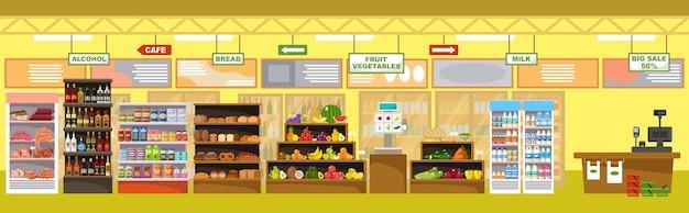 Interno del supermercato con prodotti e registratore di cassa