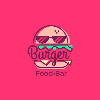 Modello di logo del supermercato con hamburger alla moda