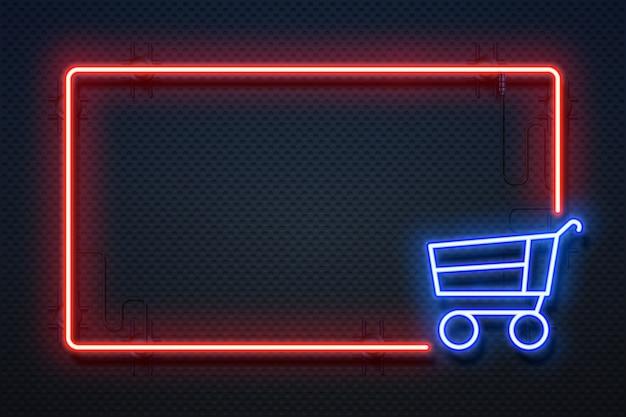 Insegna al neon del supermercato. banner leggero ipermercato con cornice e carrello luminosi, ecommerce online.