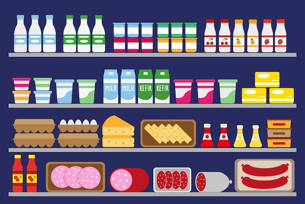 Scaffali del supermercato con cibo e bevande