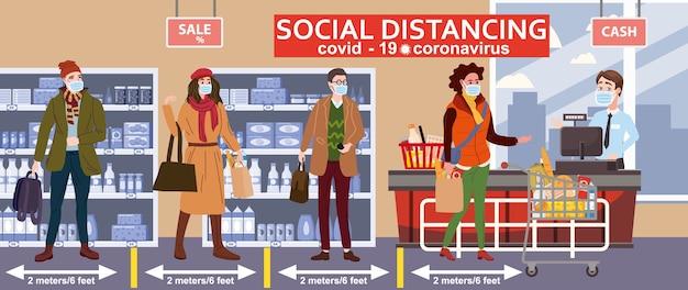 Supermercato a distanza sociale, cassiere del banco del negozio e acquirenti di folla in maschere mediche