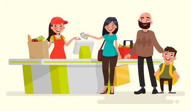 Cassiere del supermercato al registratore di cassa e acquirenti. illustrazione vettoriale in stile cartone animato