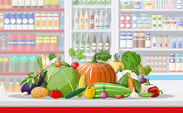 Interiore del negozio supermercato con verdure.