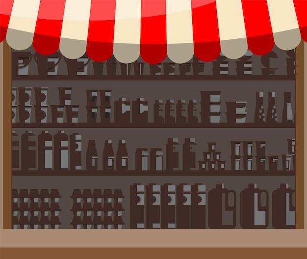 Vetrina in legno per supermercato. scaffali al dettaglio per i prodotti. bancarella del mercato con tenda da sole. scaffale del negozio, scaffale del magazzino. arredamento per negozi e centri commerciali. illustrazione vettoriale in stile piatto
